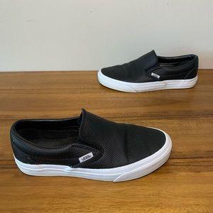 Vans Black Perforated Leather Slip-on M 6.5 / W 8